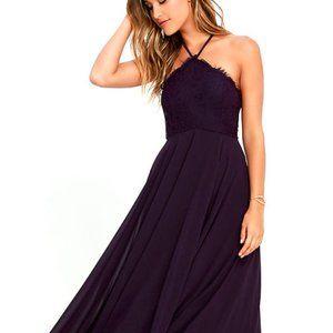 Lulus Purple Lace/Chiffon Maxi Dress Size M